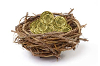 Nest with coins
